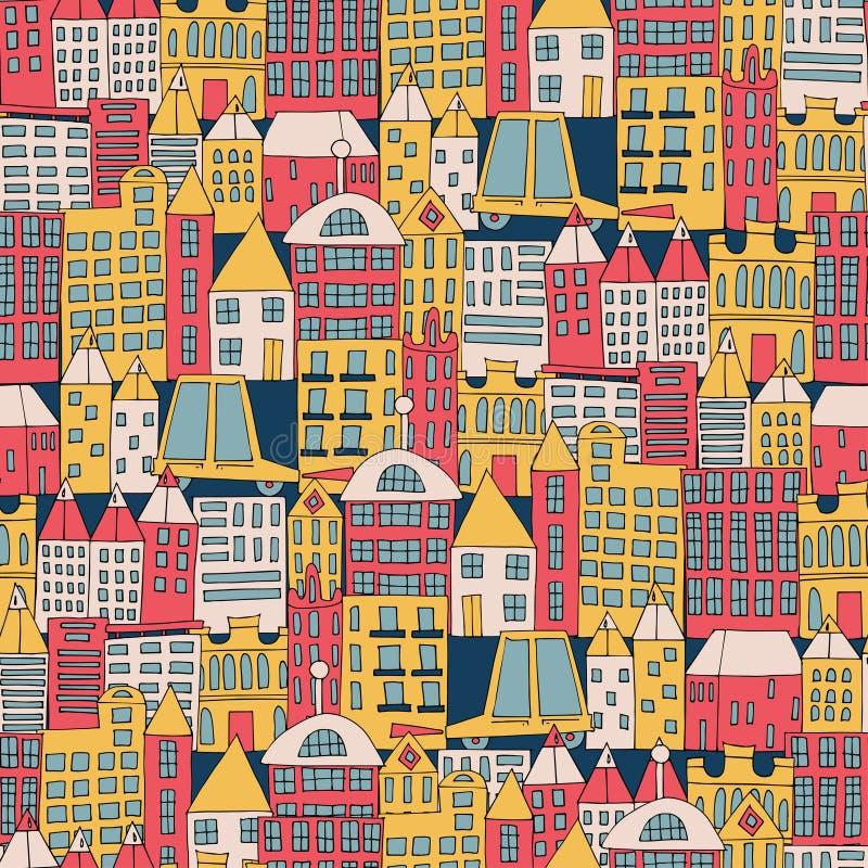 一个城市大厦的传染媒介例证以颜色无缝的样式的形式 不同的形状议院  皇族释放例证
