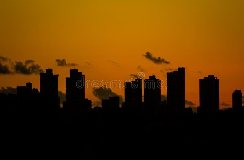 一个城市的巨大的大厦在日落期间的 温暖的颜色由于太阳的秋天 免版税库存图片