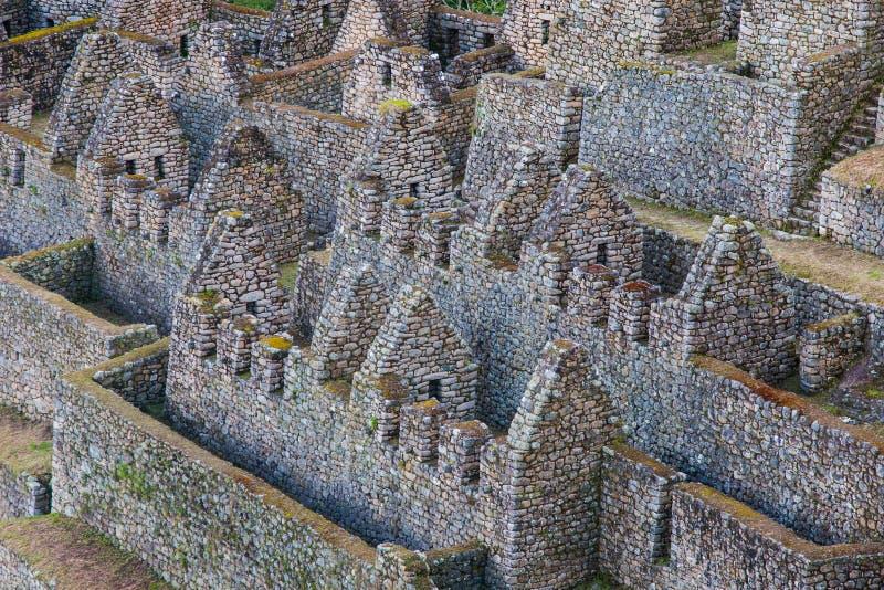 一个城市的石古老废墟印加人的落后,秘鲁 免版税库存照片