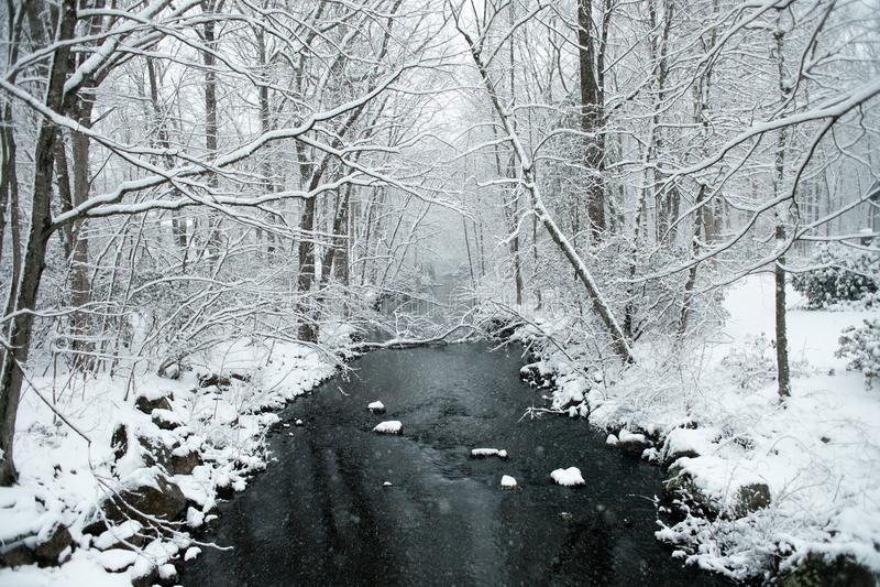 一个多雪的冬天场面在新英格兰 免版税库存照片
