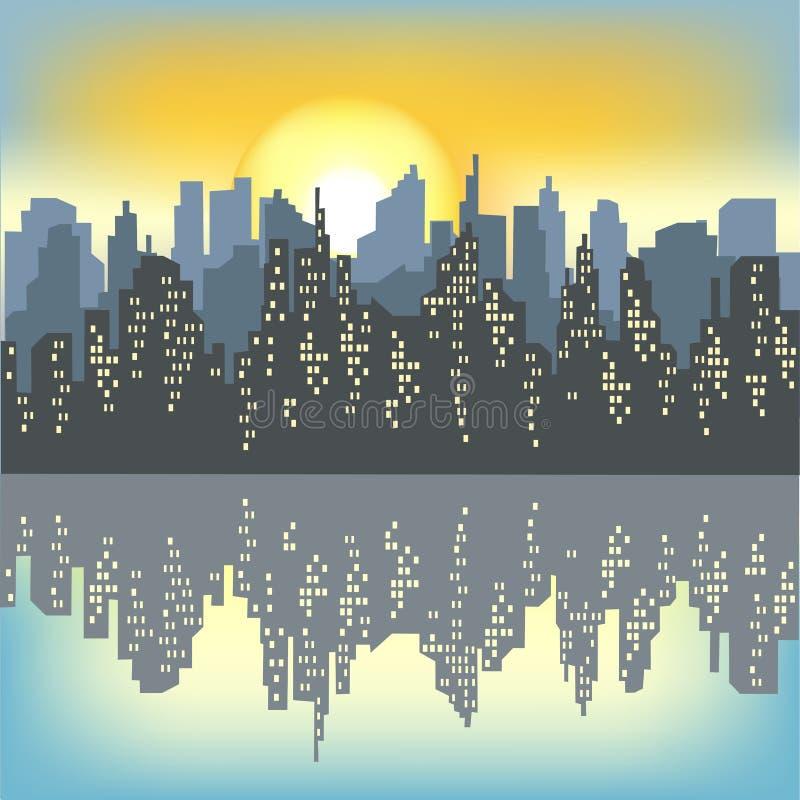 一个大城市的剪影以轻的早晨天空为背景的 朝阳照亮一切 城市是 向量例证