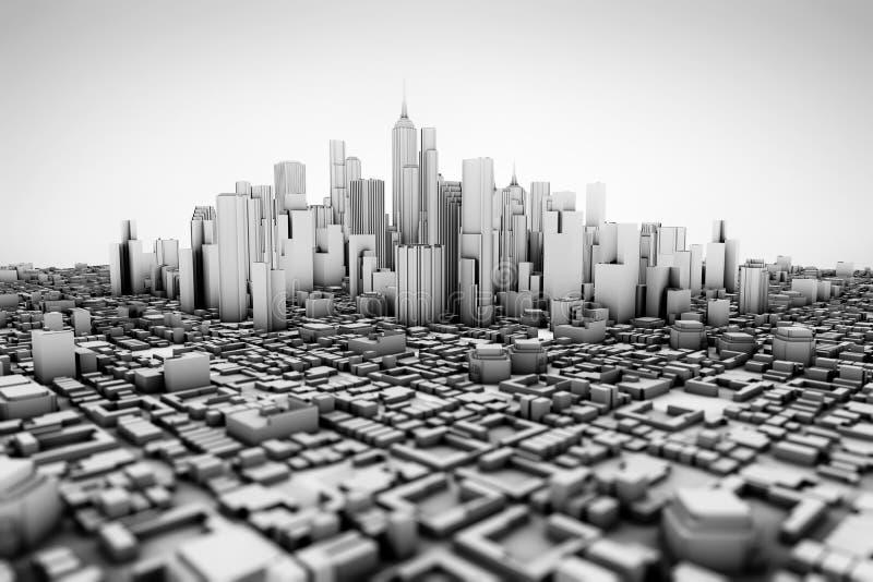 一个大城市的抽象3d模型 皇族释放例证