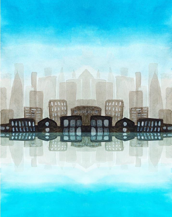 一个大城市的水彩都市剪影在阴霾的早晨 天空蔚蓝,与光亮窗口的对称大厦是 向量例证