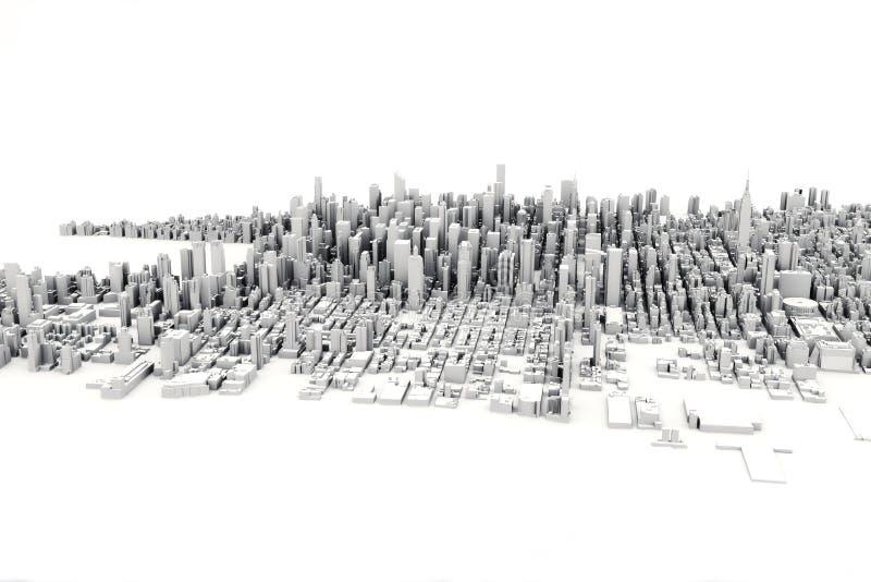一个大城市的建筑3D模型例证白色背景的 库存例证