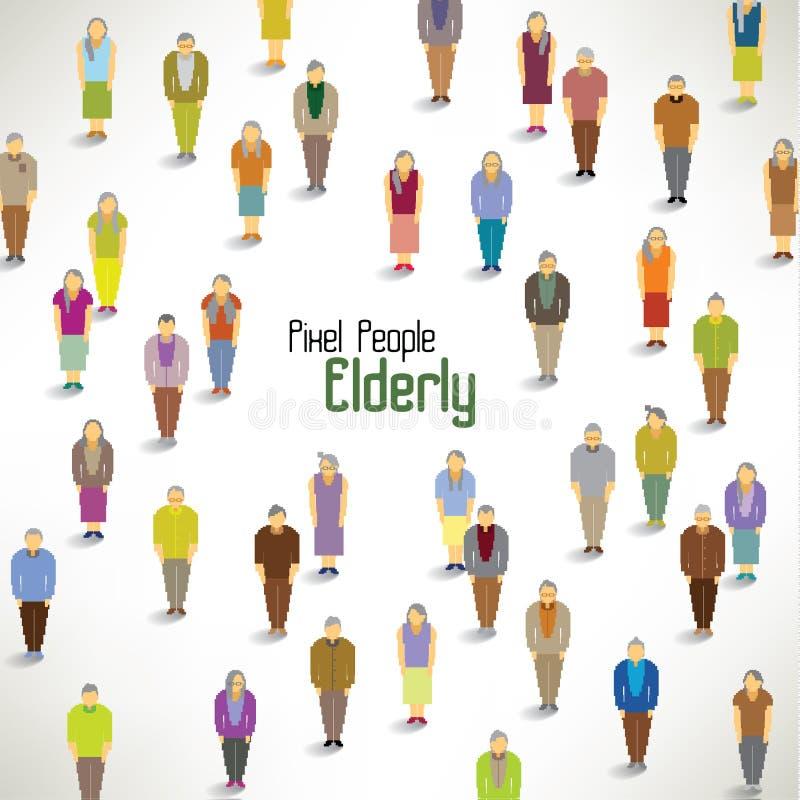 一个大小组老人聚集设计 向量例证