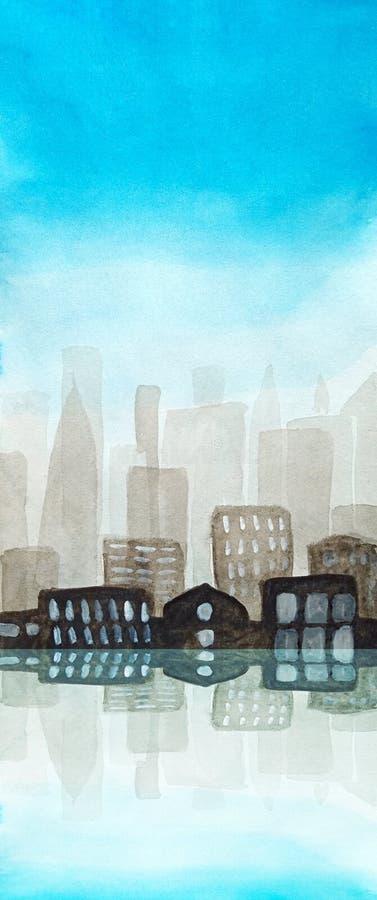 一个大镇的水彩飞行物都市剪影阴霾的 天空蔚蓝,与光亮窗口的黑暗的大厦在被反射 库存例证
