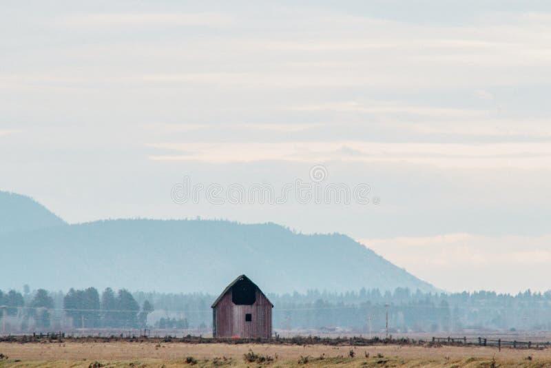 一个大领域的唯一被隔绝的木房子与小山在背景中 向量例证