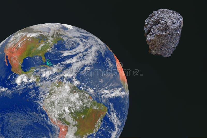 一个大飞星朝向为地球 反对地球` s背景的一块陨石 免版税库存照片
