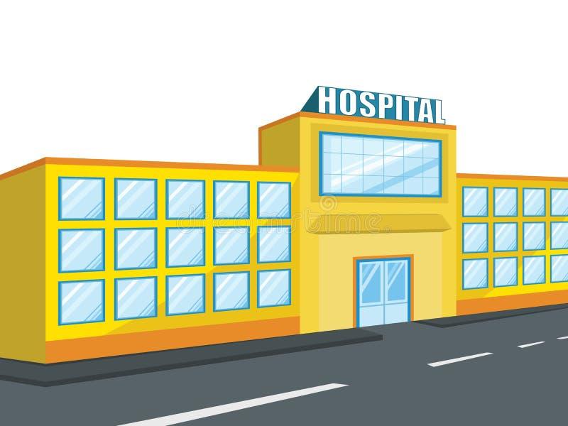 一个大医院大厦的侧视图 库存例证