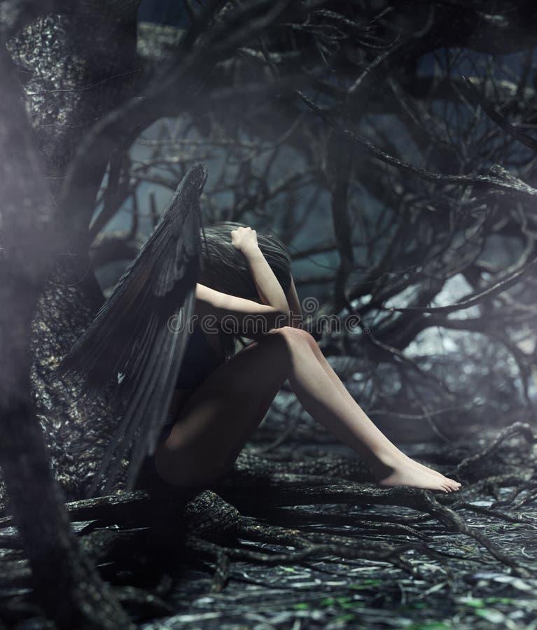 一个天使在神秘的森林里 皇族释放例证