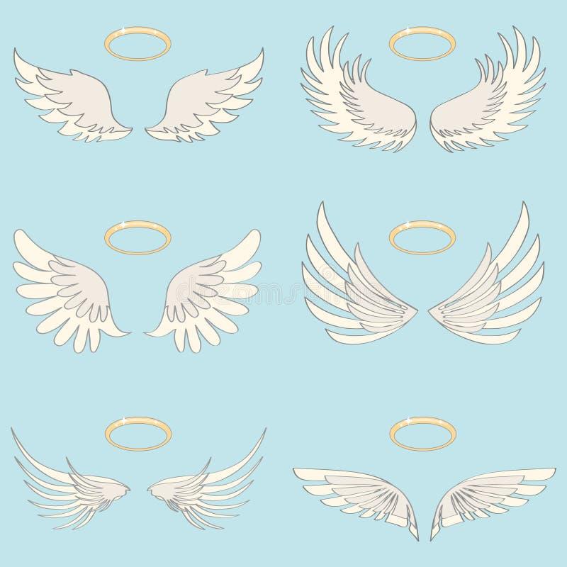 一个天使的翼与光晕的,一个天使的现实白色翼在轻的背景的 向量例证