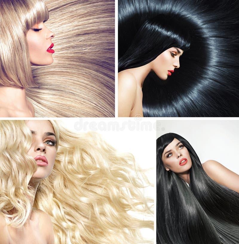 一个夫人的多张图片有各种各样的发型的 免版税库存图片