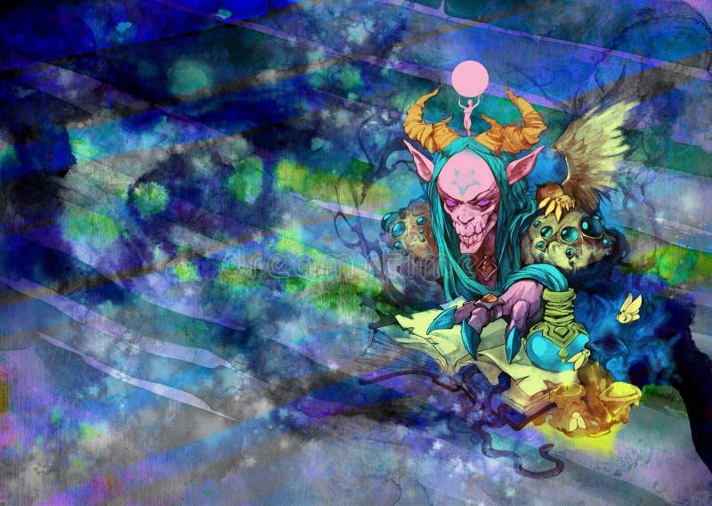 一个奇怪和阴险最基本的生物的幻想神秘的画象例证 向量例证
