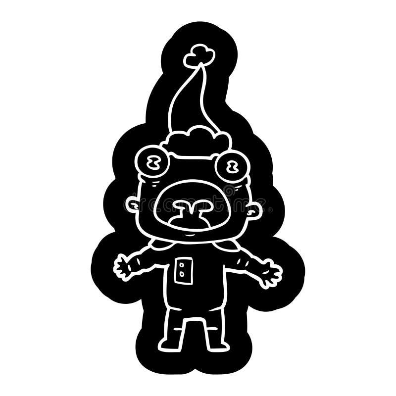 一个奇怪的外籍人沟通的佩带的圣诞老人帽子的动画片象 向量例证