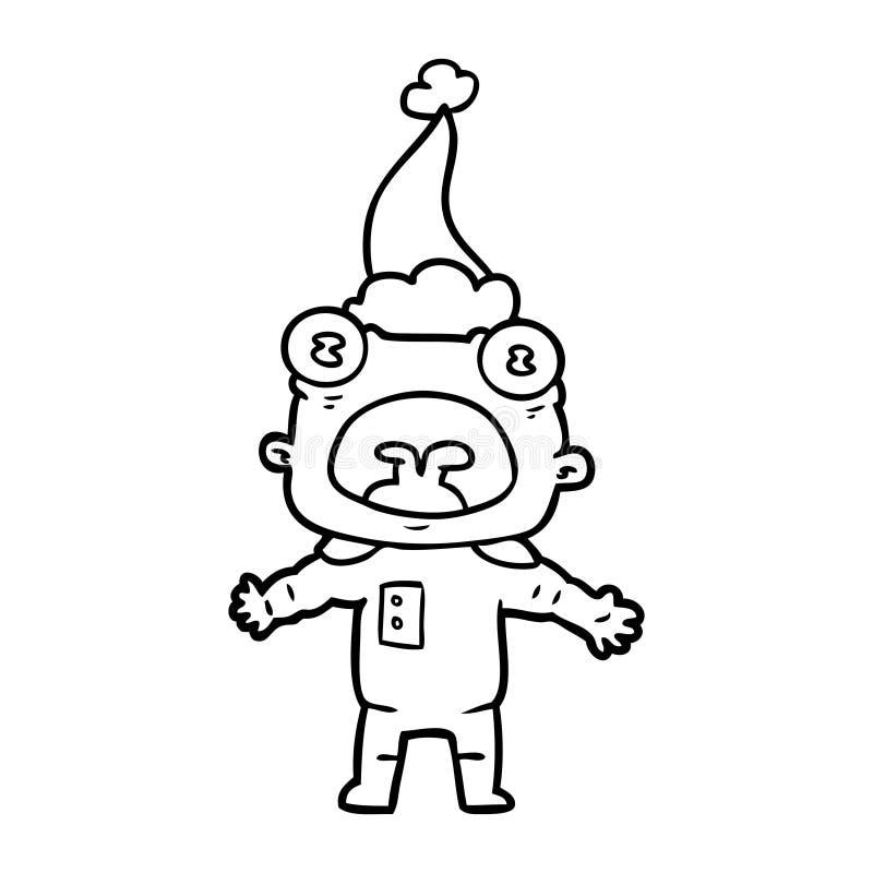 一个奇怪的外籍人沟通的佩带的圣诞老人帽子的线描 向量例证