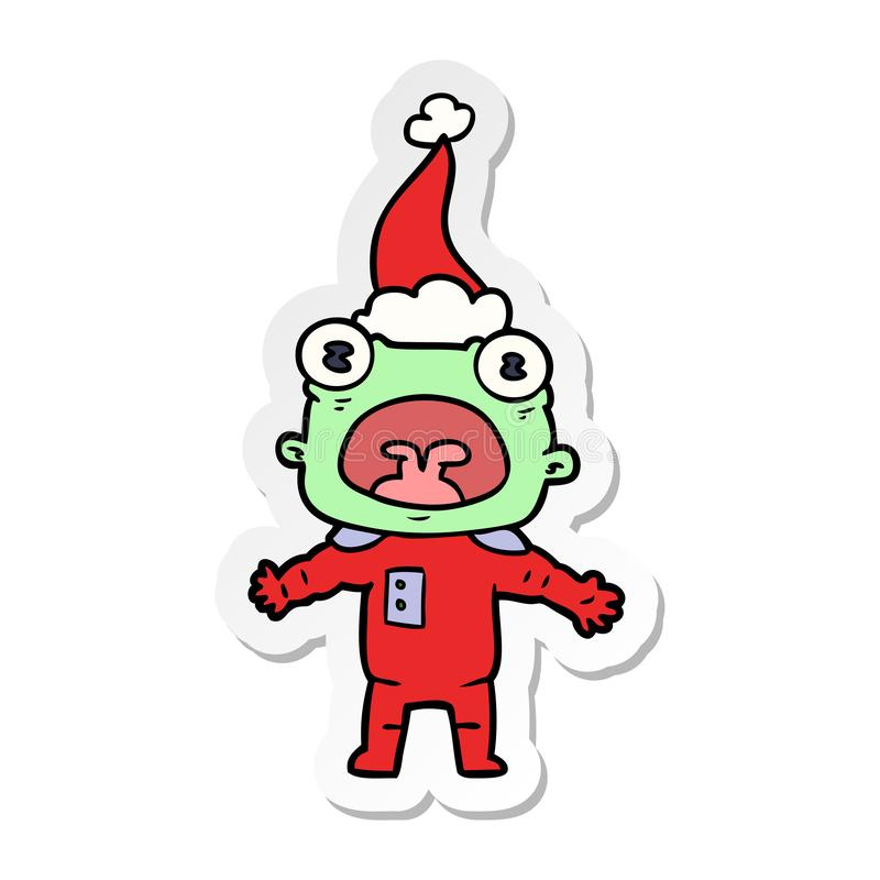 一个奇怪的外籍人沟通的佩带的圣诞老人帽子的贴纸动画片 皇族释放例证