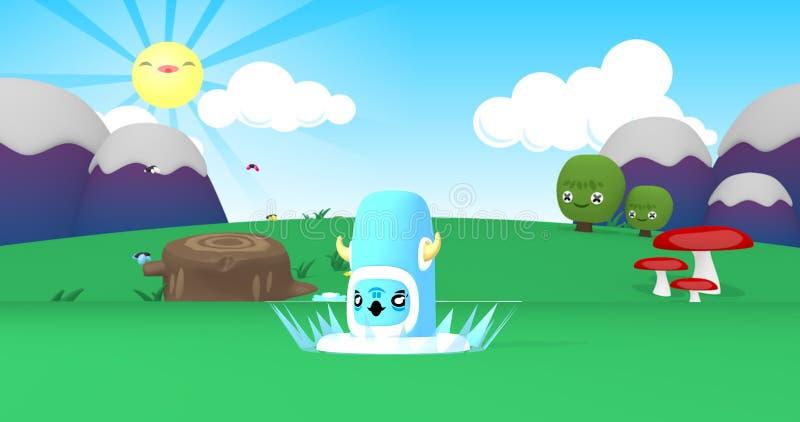 一个奇怪的蓝色生物的动画片 库存例证