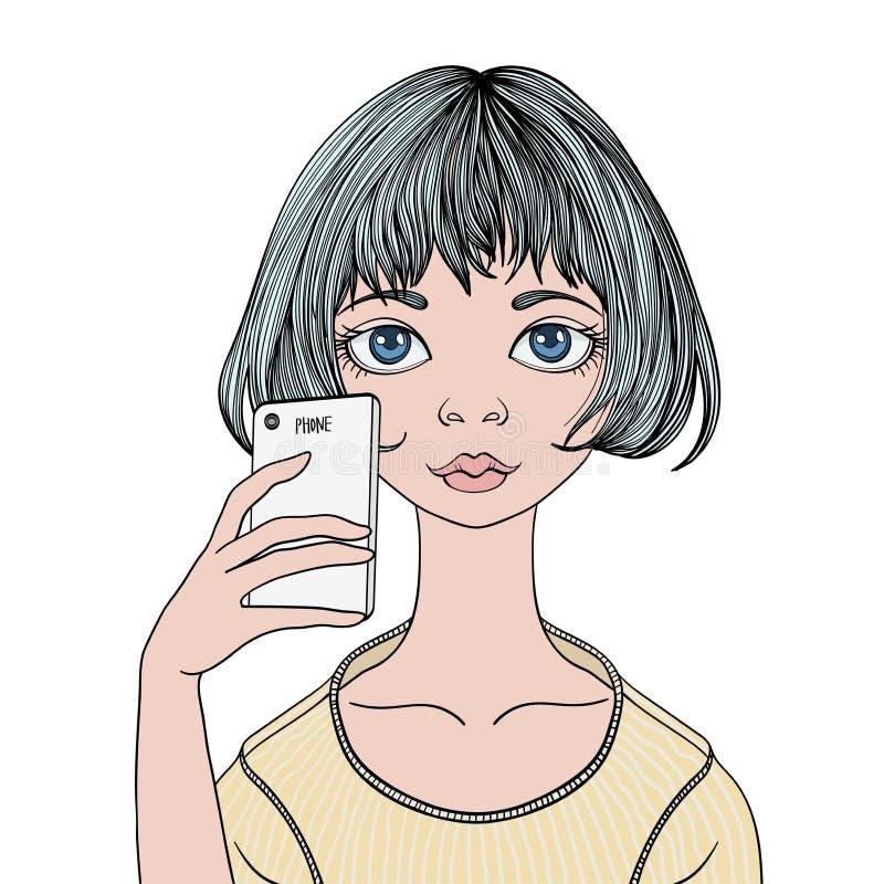 一个女孩做与智能手机的一selfie 传染媒介画象例证,隔绝在白色 向量例证