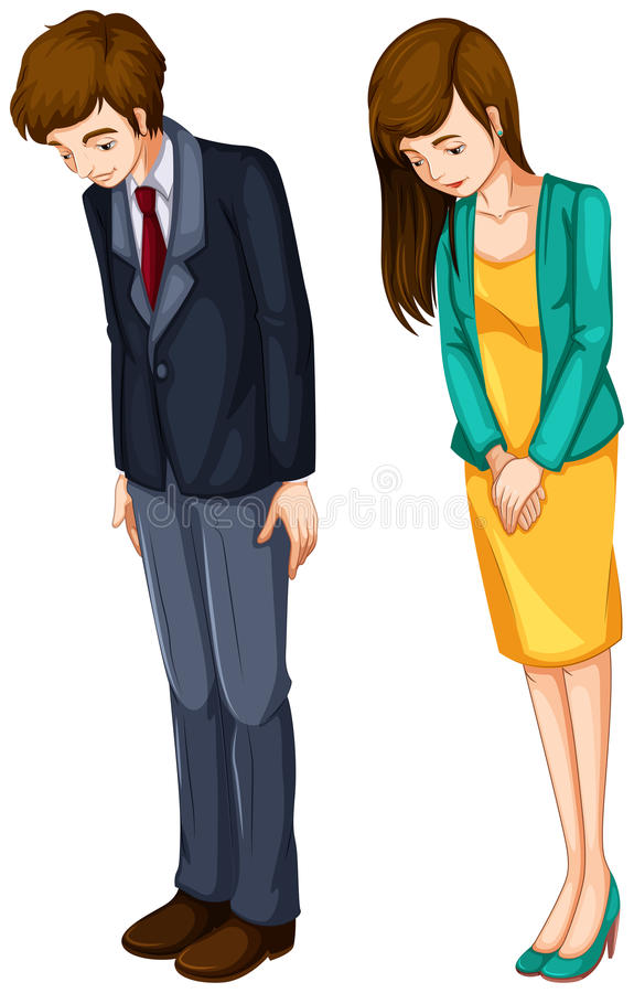 一个女孩和一个男孩他们的正式服装的 向量例证
