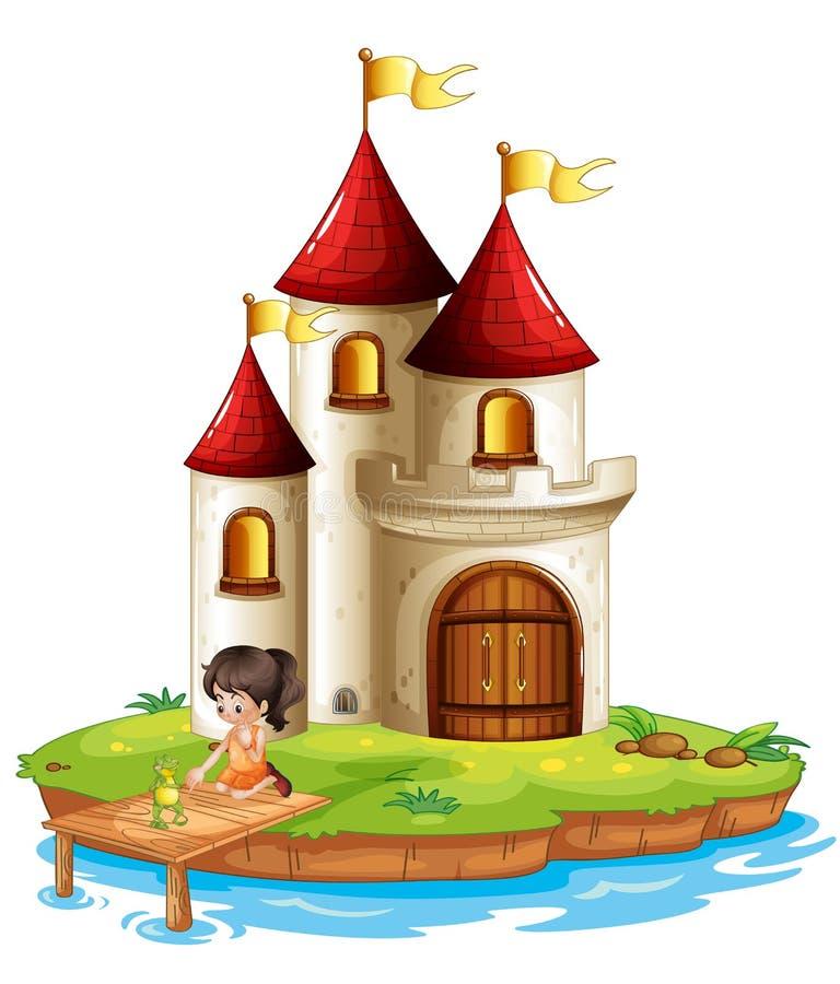 一个女孩和一只青蛙在桥梁在一座大城堡前面 皇族释放例证