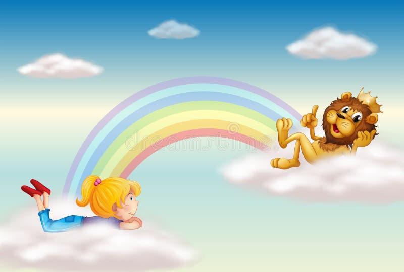 一个女孩和一头国王狮子横跨彩虹 库存例证