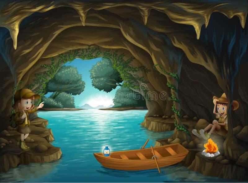 在洞里面的一个女孩和男孩 库存例证