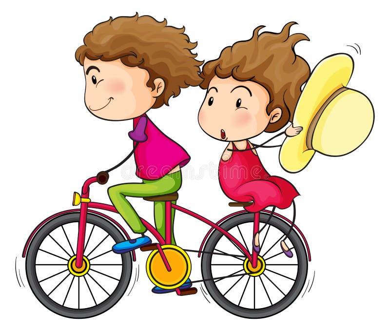 一个女孩和男孩骑马在一辆快行自行车 向量例证