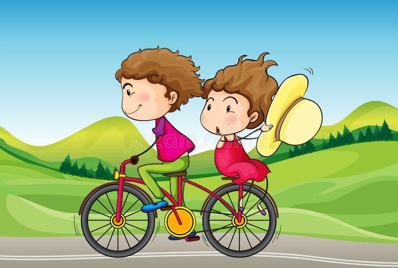 一个女孩和男孩骑马在自行车 向量例证
