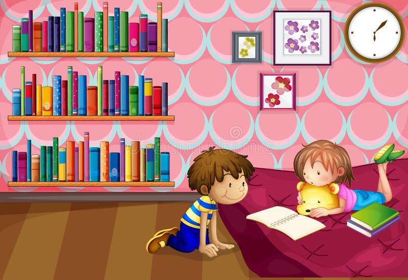 一个女孩和男孩读书在屋子里面 库存例证