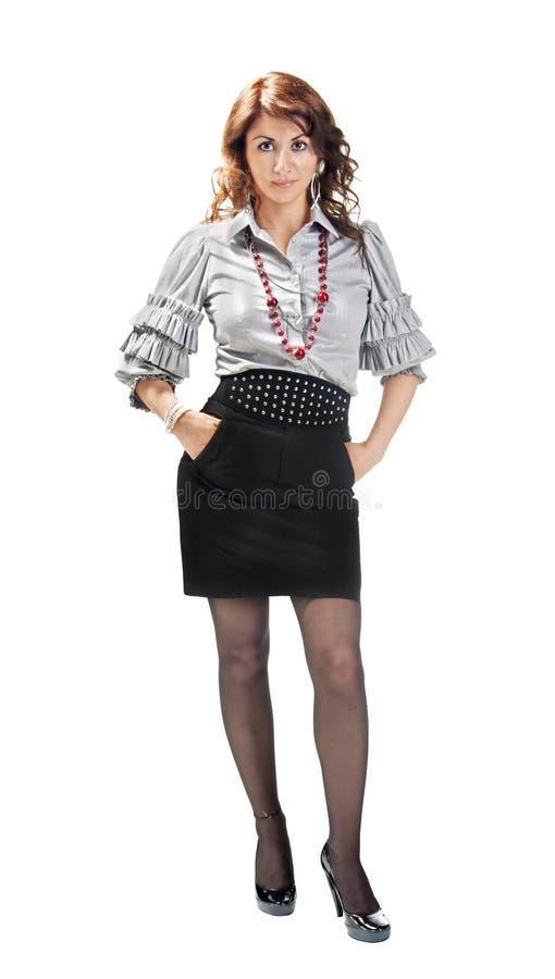 一个女孩在办公室样式穿戴了 库存图片