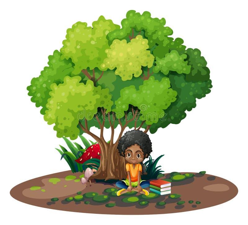一个女孩在她的书旁边的树下 皇族释放例证