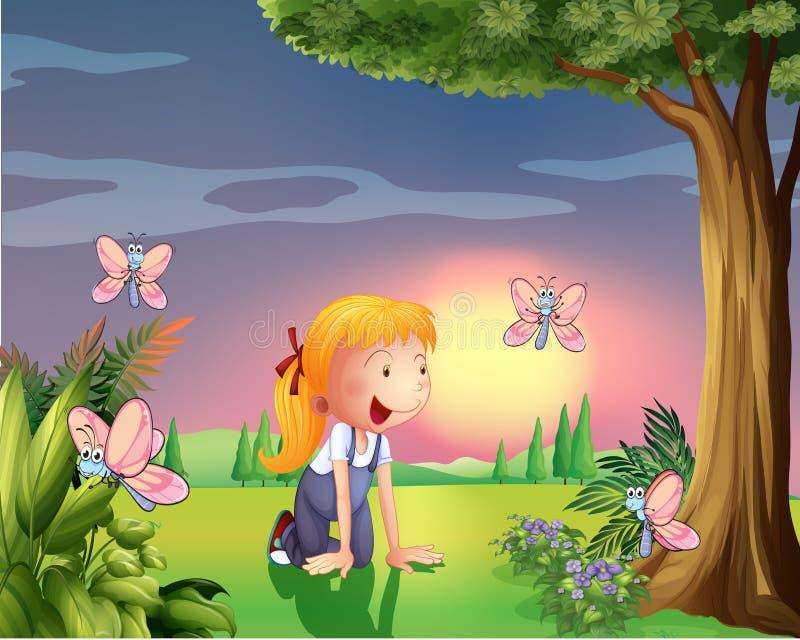 一个女孩在有四只蝴蝶的庭院里 向量例证
