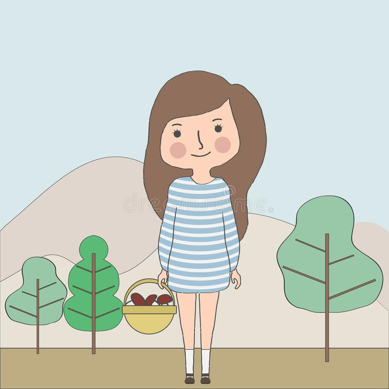 一个女孩在森林拾起蘑菇 女孩在她的手上拿着一个篮子用蘑菇反对森林landsca的背景 皇族释放例证