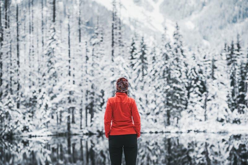 一个女孩徒步旅行者在看对多雪的风景的冬天湖前面站立 o 免版税库存图片