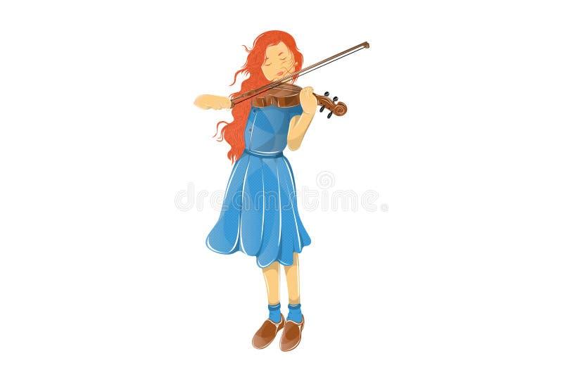 一个女孩的例证弹小提琴的蓝色礼服的图片