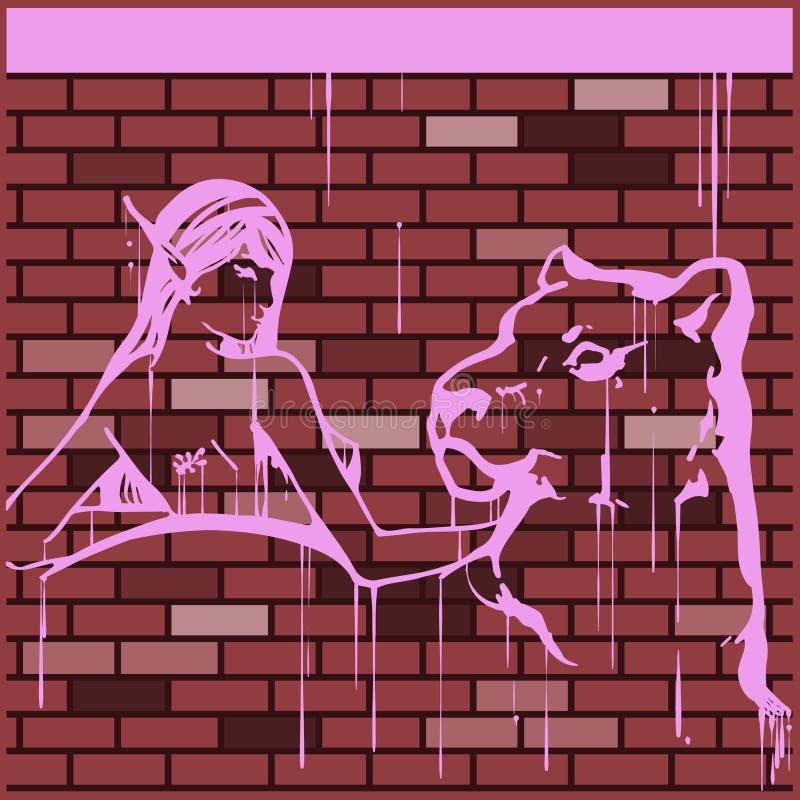 一个女孩的例证有豹的 街道画的模仿在墙壁上的 图库摄影