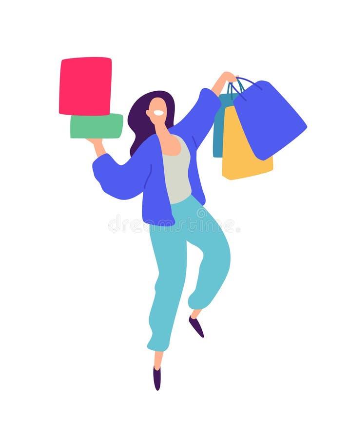 一个女孩的例证有购物的 向量 在动画片样式的正面平的例证 折扣和销售 Shopaholic 皇族释放例证