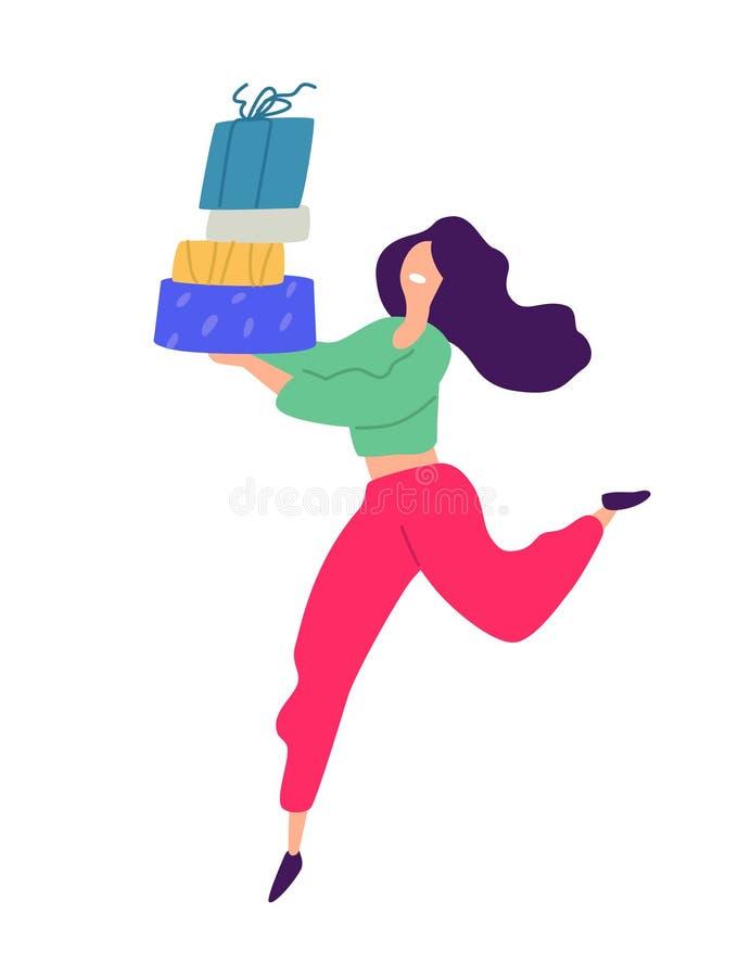 一个女孩的例证有购物的 向量 在动画片样式的正面平的例证 折扣和销售 Shopaholic 库存例证