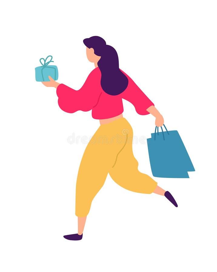 一个女孩的例证有购物的 向量 在动画片样式的正面平的例证 折扣和销售 Shopaholic 向量例证