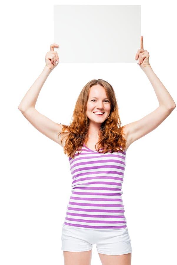 一个女孩的垂直的画象有一副横幅的在他的头 库存图片