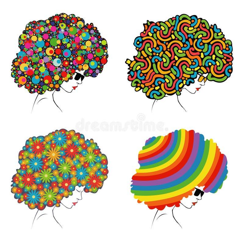 一个女孩的头有异常的色的抽象头发的 向量例证