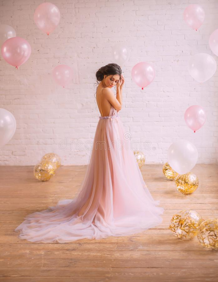 一个女孩的嫩照片有黑发的在一种惊人的整洁的发型,穿戴在一壮观玫瑰色与一件紫色礼服 图库摄影