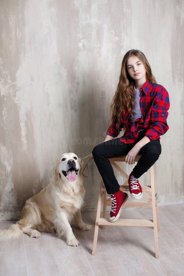 一个女孩的演播室画象有一条狗的在灰色背景 图库摄影