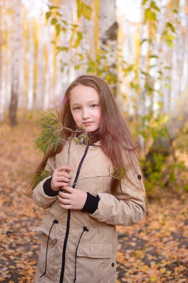 一个女孩的画象有有在夹克的秋天森林少年女孩站立反对黄色背景的长发的 免版税图库摄影