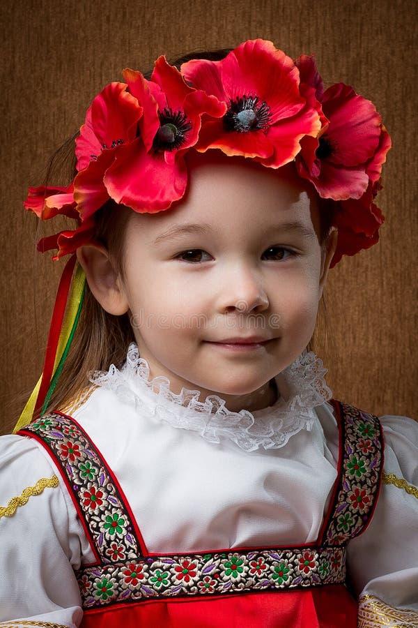 一个女孩的画象,俄国全国服装的 免版税图库摄影