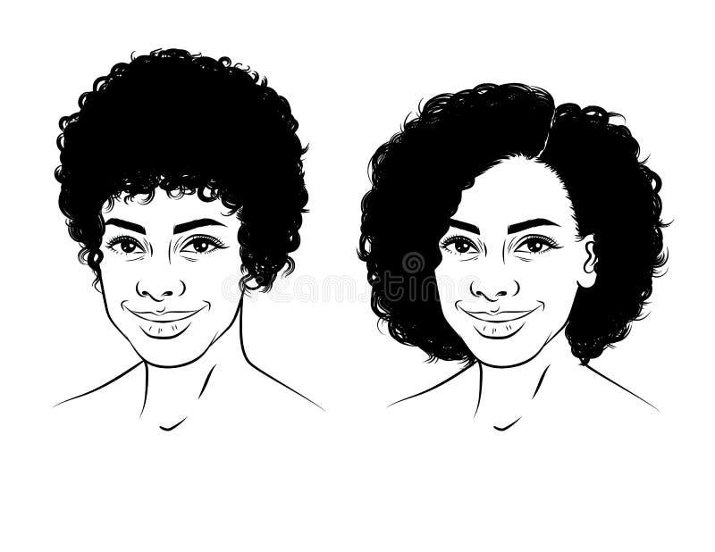 一个女孩的面孔的黑白线性例证有卷曲短发的 皇族释放例证