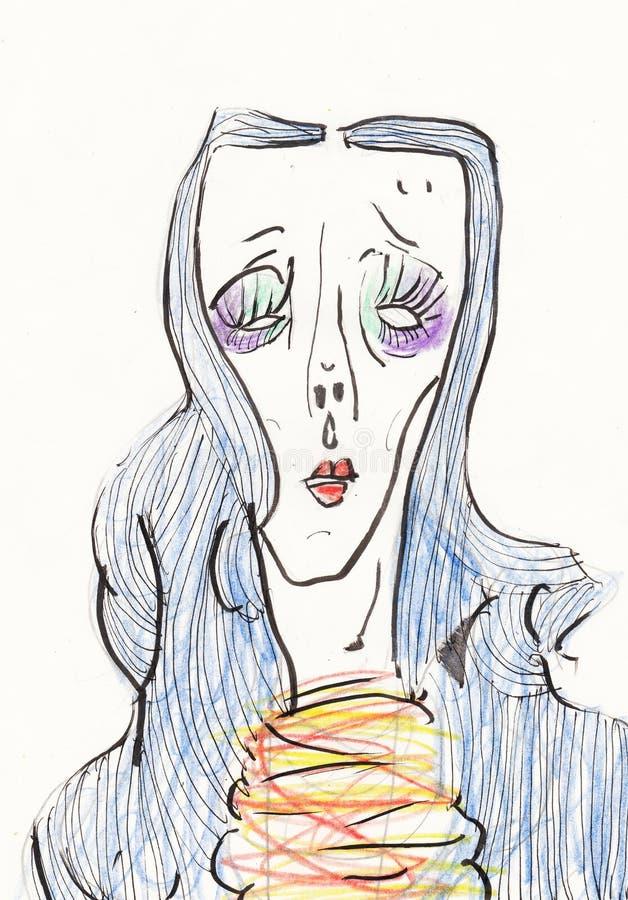 一个女孩的颜色画象有蓝色头发的 包装,飞行物、明信片、海报或者印刷品设计的例证T恤杉的 向量例证
