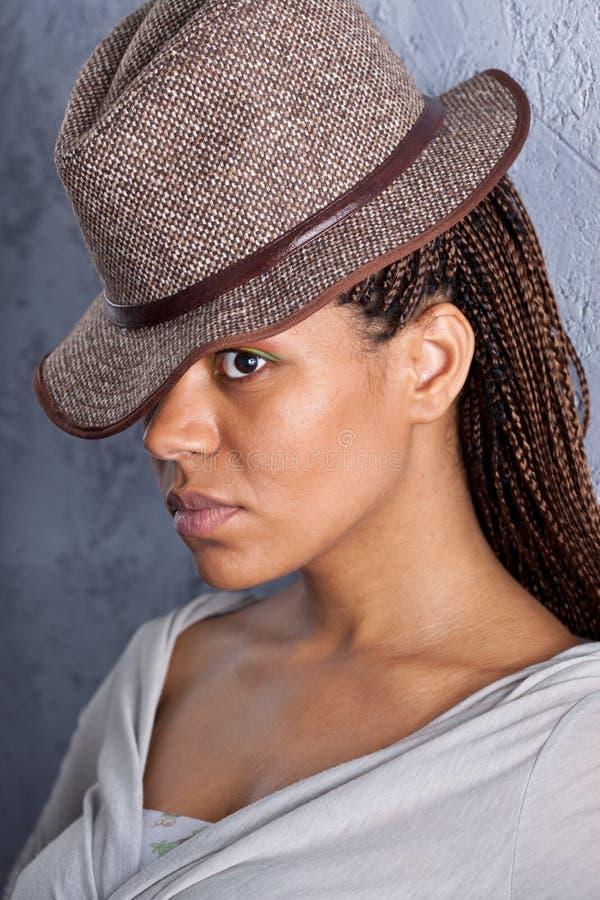 帽子的女孩 库存图片