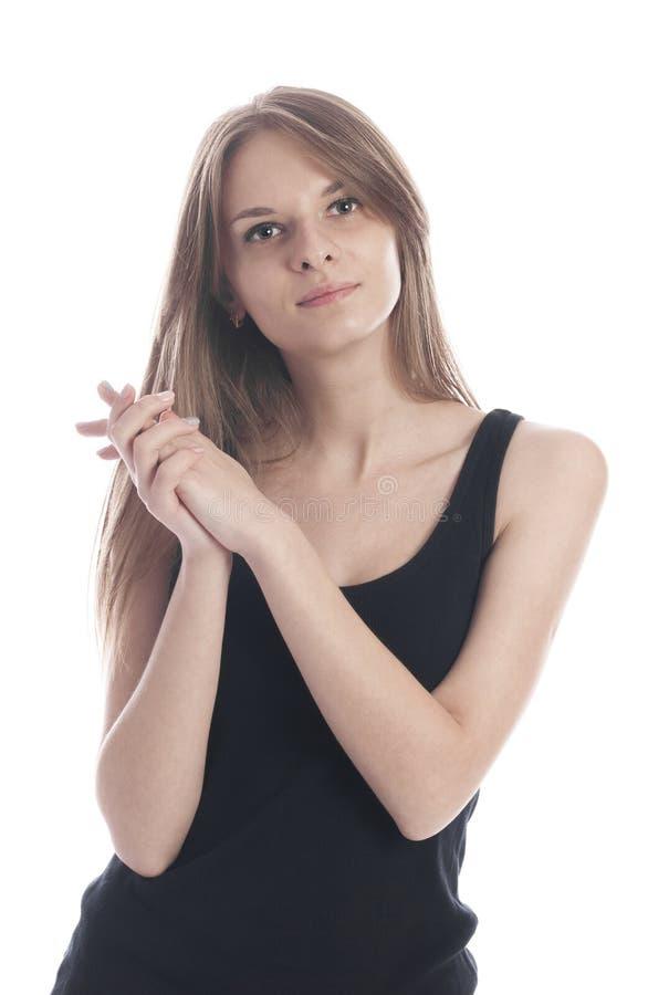 一个女孩的画象有长的头发的 免版税图库摄影