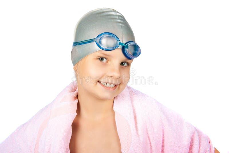 一个女孩的画象泳帽的 免版税库存照片